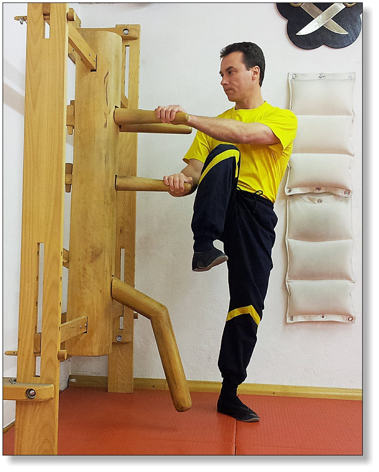 Training on the wooden dummy allows the practice of dangerous techniques