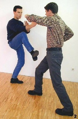 Wing Tsun Exercise 3, Fig. 2 - Opponent takes a blow and we proceed