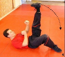 Wing Tsun Exercise 75, Fig. 1 - Sifu swings up his leg