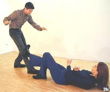 Wing Tsun Exercise 86, Fig. 2b - in case the opponet only approaches a stop kick will hold him back, too